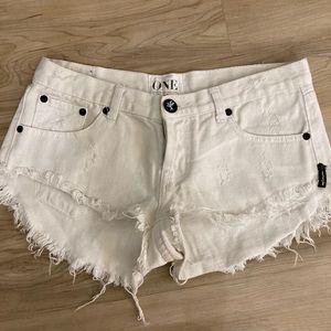 One Teaspoon White Jean Shorts